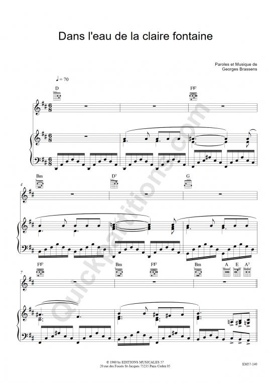 Partition piano Dans l'eau de la claire Fontaine - Georges Brassens