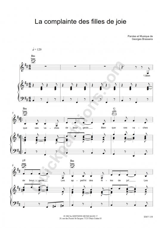 Partition piano La complainte des filles de joie - Georges Brassens
