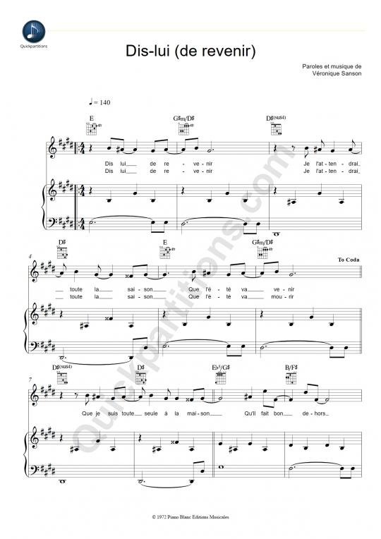 Partition piano Dis-lui (de revenir) - Véronique Sanson