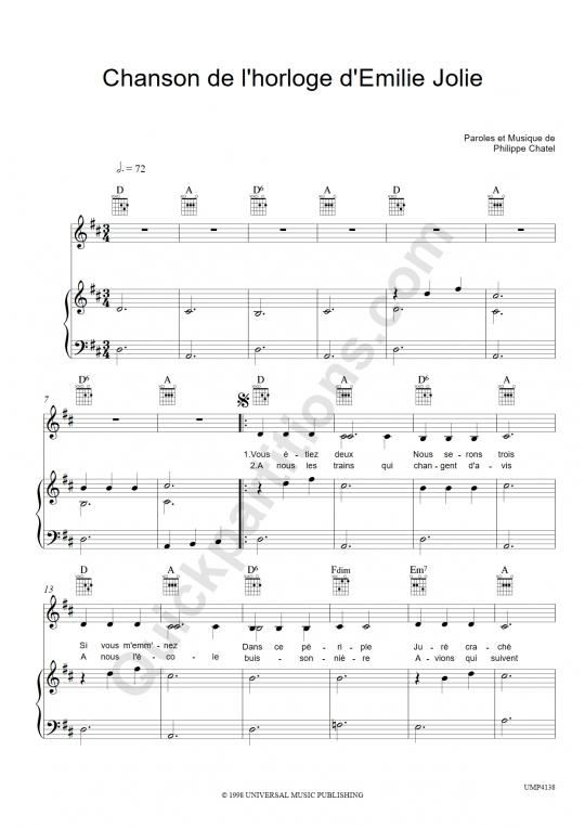 Partition piano Chanson de l'horloge d'Emilie Jolie - Emilie Jolie