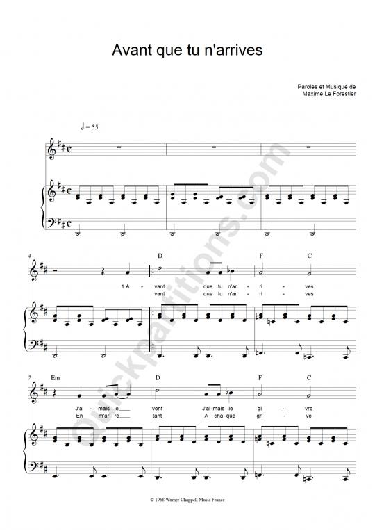 Partition piano Avant Que Tu N'arrives - Maxime Le Forestier