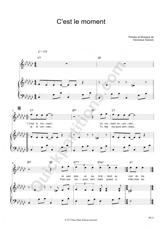 Partition piano C'est le moment - Véronique Sanson