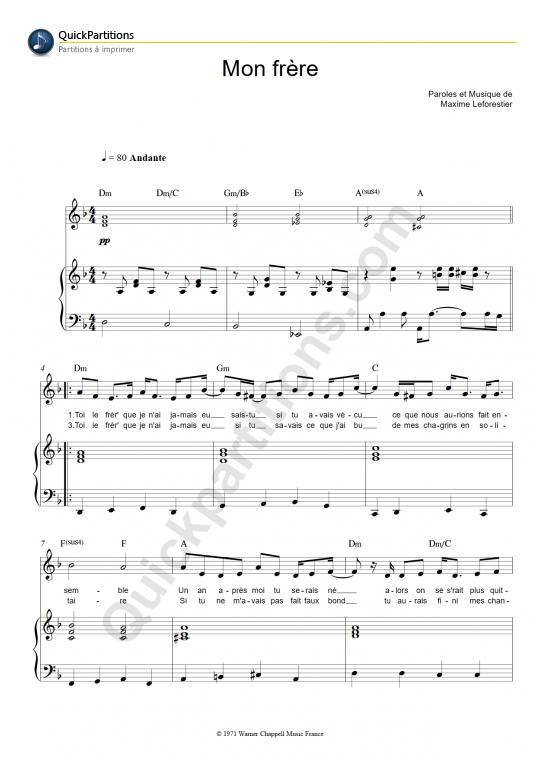 Partition piano Mon frère - Maxime Le Forestier
