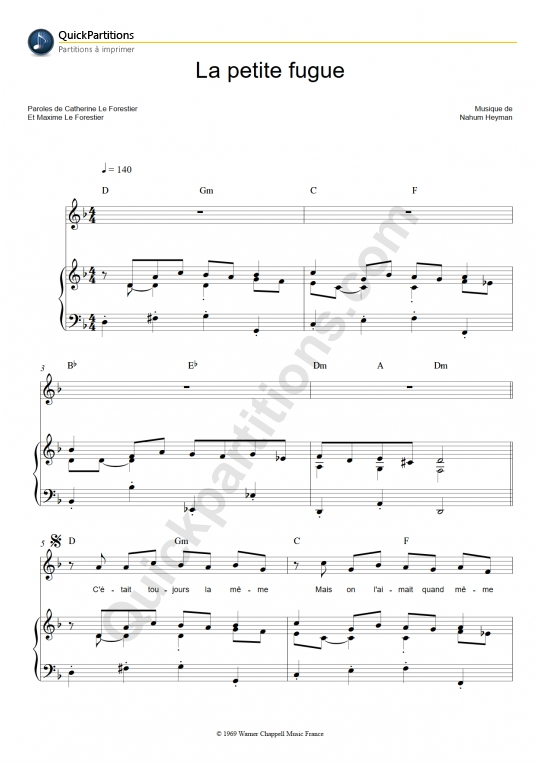 La petite fugue Piano Sheet Music - Maxime Le Forestier