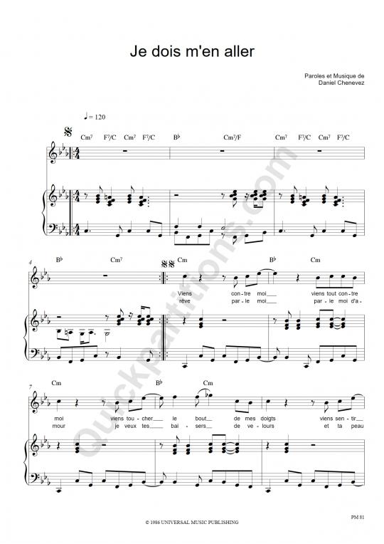 Je dois m'en aller Piano Sheet Music - Niagara
