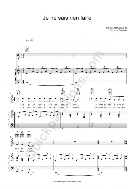 Partition piano Je ne sais rien faire - Maxime Le Forestier