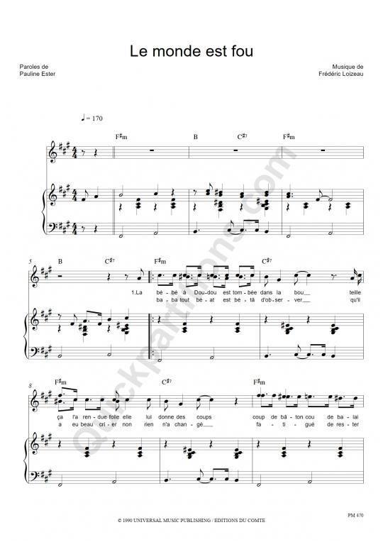 Partition piano Le monde est fou - Pauline Ester