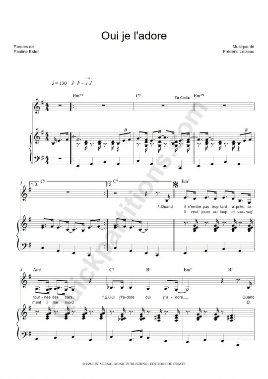 Partition piano oui je l 39 adore pauline ester partition for Une fenetre ouverte pauline ester
