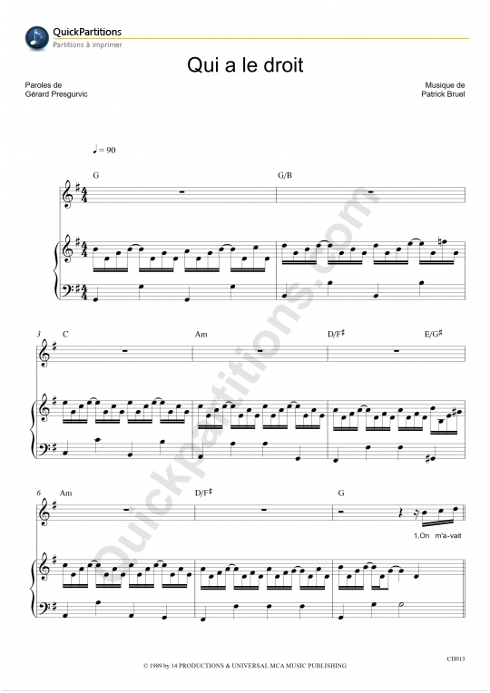 Qui a le droit Piano Sheet Music - Patrick Bruel