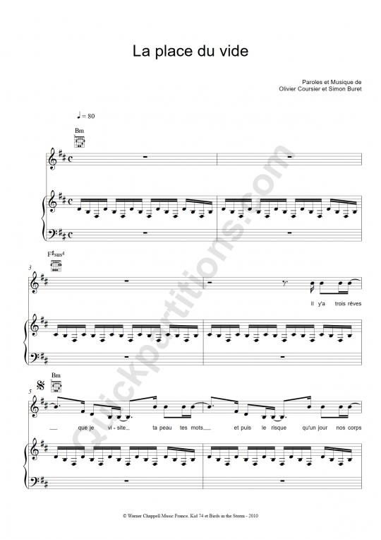 Partition piano La place du vide - Zazie