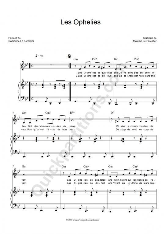 Partition piano Les Ophélies - Maxime Le Forestier