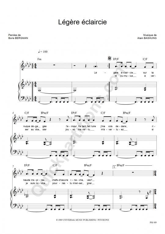 Partition piano Légère éclaircie - Alain Bashung