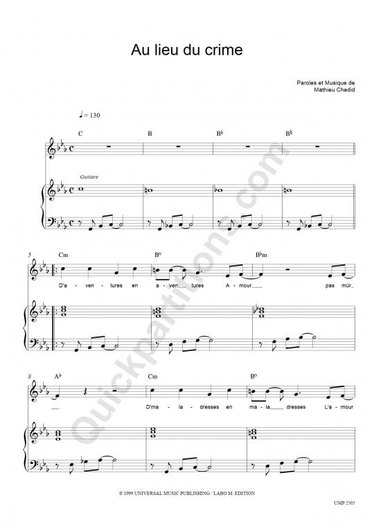 Partition piano Au Lieu Du Crime - M