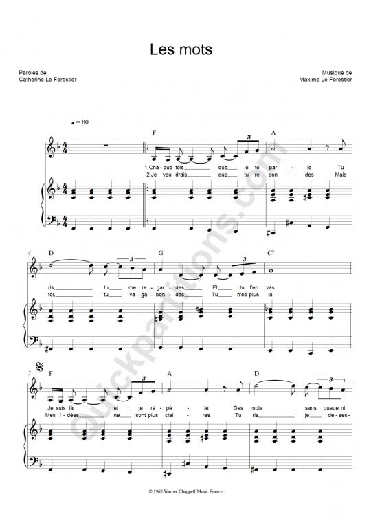 Partition piano Les Mots - Maxime Le Forestier