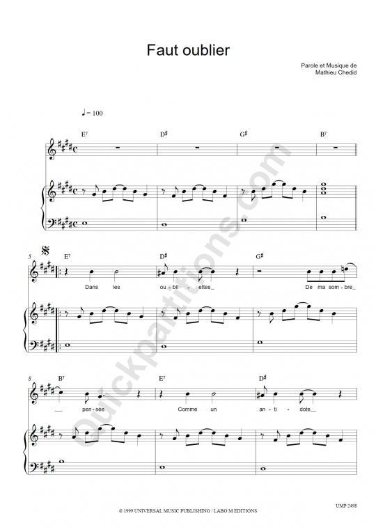 Partition piano Faut oublier - M