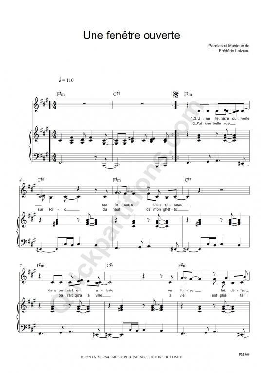 Partition piano une fentre ouverte pauline ester for Une fenetre ouverte paroles