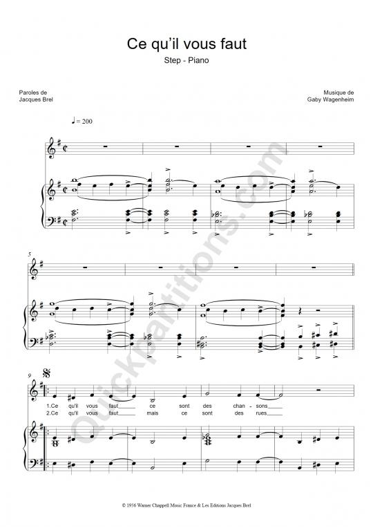 Partition piano Ce qu'il vous faut - Jacques Brel
