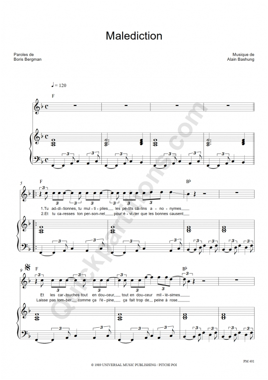 Partition piano Malédiction - Alain Bashung