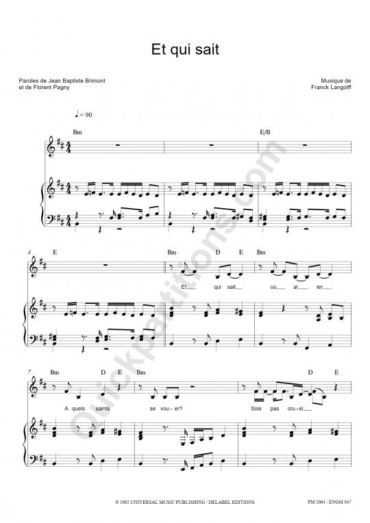 Partition piano Et qui sait - Florent Pagny
