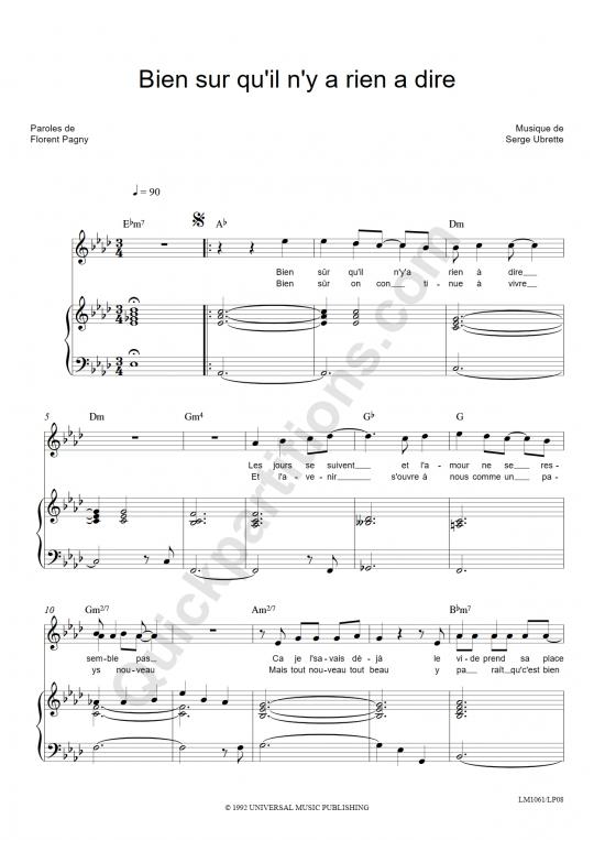 Partition piano Bien sur qu'il n'y a rien à dire - Florent Pagny