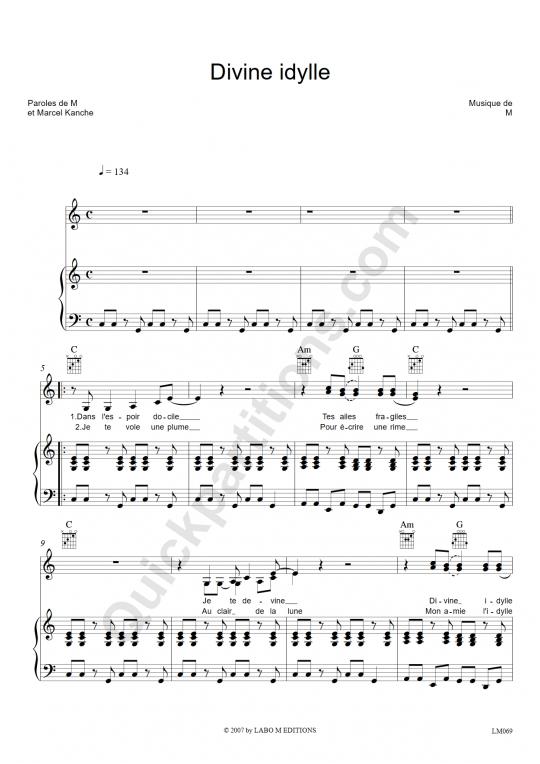Partition piano Divine Idylle - Vanessa Paradis