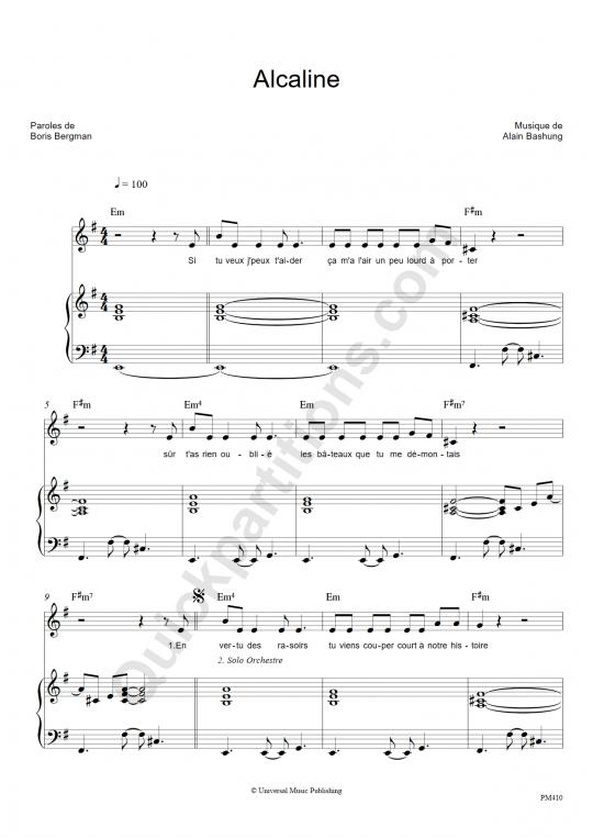 Partition piano Alcaline - Alain Bashung