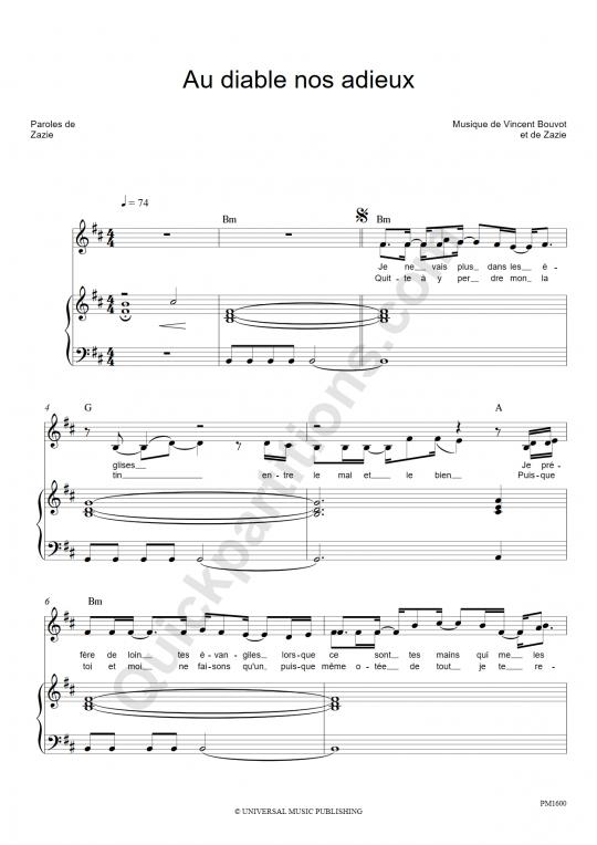 Partition piano Au diable nos adieux - Zazie