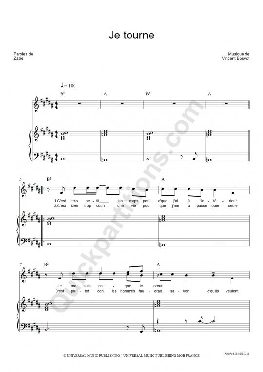 Partition piano Je tourne - Zazie
