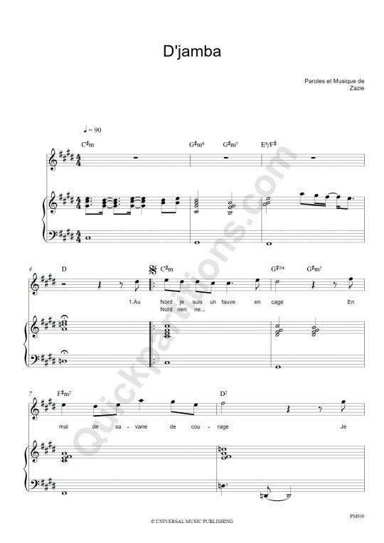 Partition piano D'jamba - Zazie