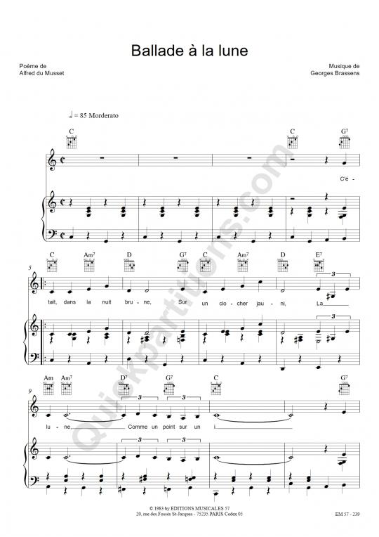 Partition piano Ballade à la lune - Georges Brassens