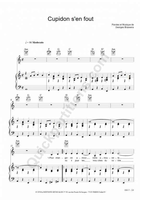 Partition piano Cupidon s'en fout - Georges Brassens