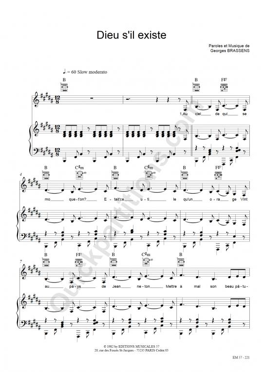 Partition piano Dieu s'il existe - Georges Brassens