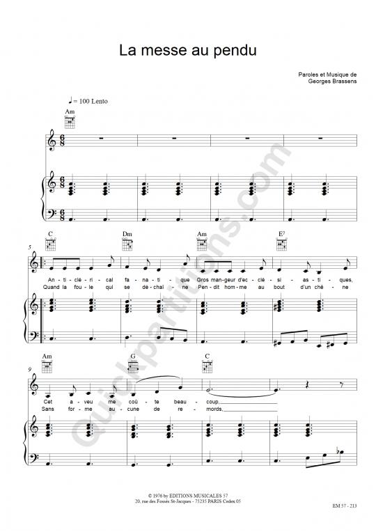 Partition piano La Messe Au Pendu - Georges Brassens
