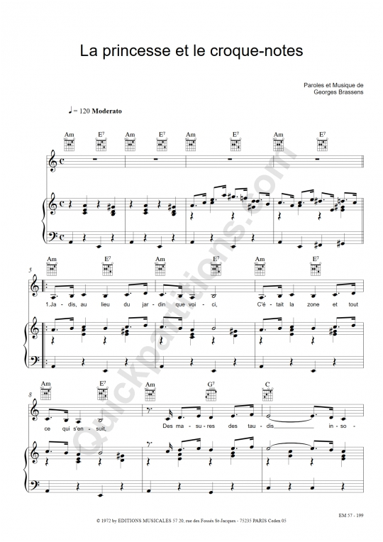 Partition piano La princesse et le croque-notes - Georges Brassens