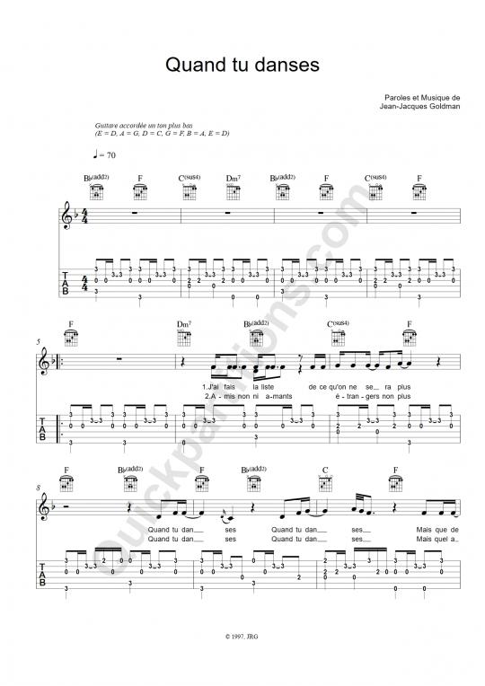 Tablature Guitare Quand tu danses - Jean-Jacques Goldman