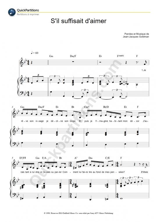 Partition piano S'il suffisait d'aimer - Céline Dion