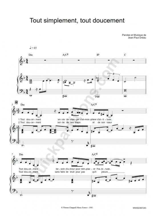 Partition piano Tout simplement, tout doucement - Bibie