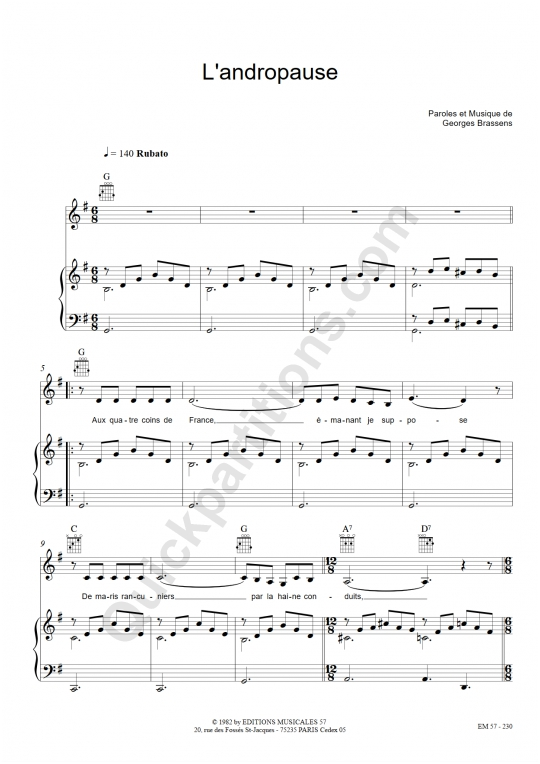 Partition piano L'andropause - Georges Brassens
