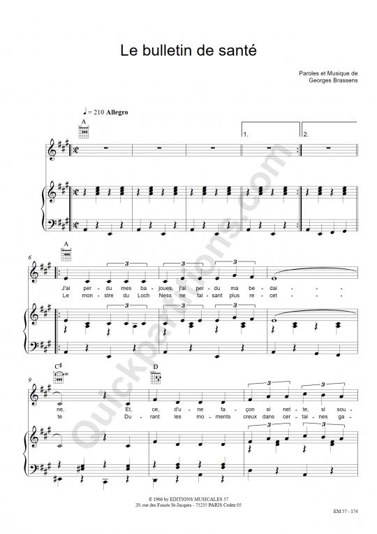 Partition piano le bulletin de sant georges brassens - Les amoureux des bancs publics paroles ...