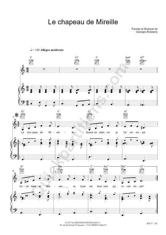 Partition piano Le chapeau de Mireille - Georges Brassens