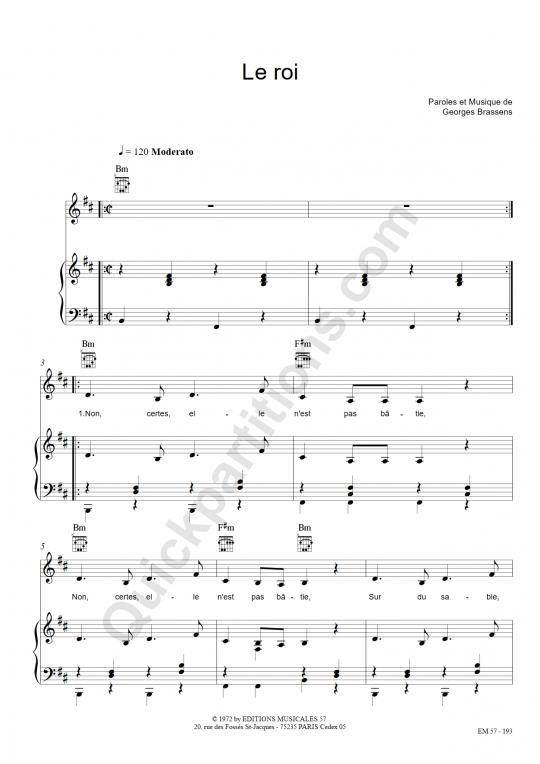 Partition piano Le roi - Georges Brassens