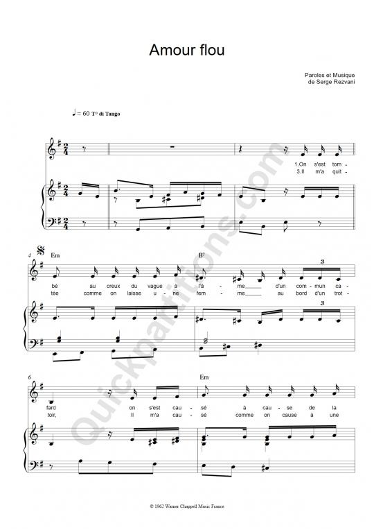 Partition piano Amour flou - Jeanne Moreau