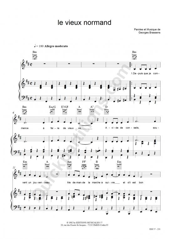 Partition piano Le vieux normand - Georges Brassens