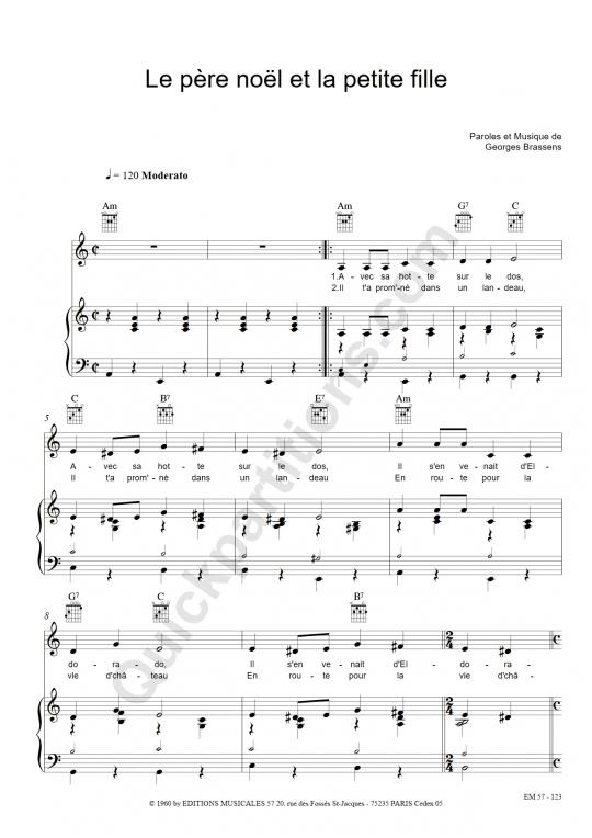 Partition piano Le père noël et la petite fille - Georges Brassens