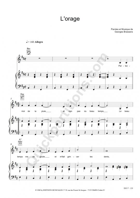 Partition piano L'orage - Georges Brassens