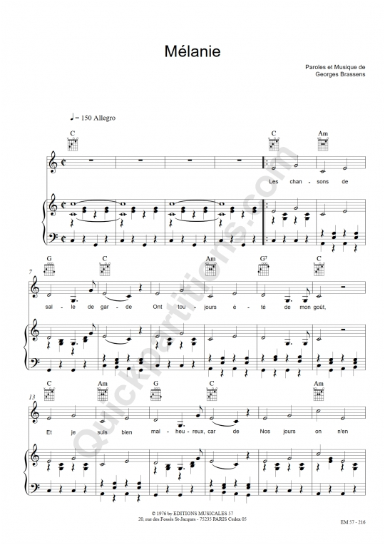 Partition piano Mélanie - Georges Brassens
