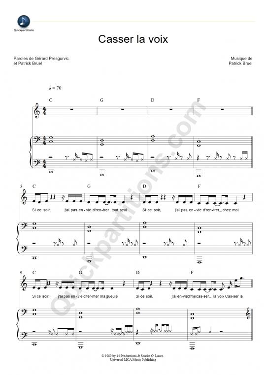 Partition piano Casser la voix - Patrick Bruel