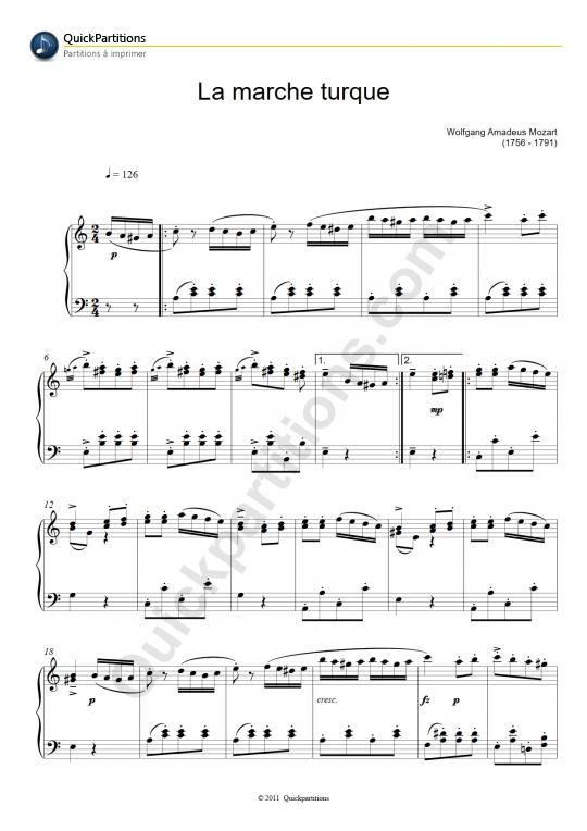 Partition piano La marche turque - Wolfgang Amadeus Mozart