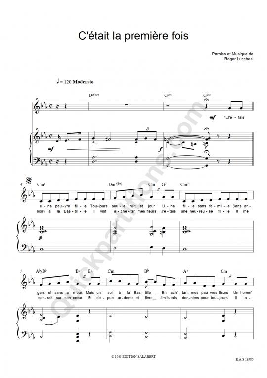 Partition piano C'était la première fois - Edith Piaf