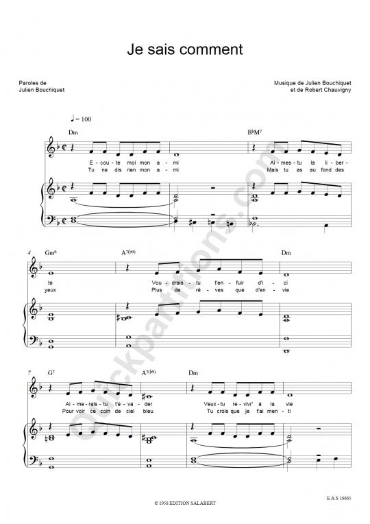 Partition piano Je sais comment - Edith Piaf